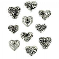 Dress It up Buttons - Heart Throb Silver PK of 10 2cm. .