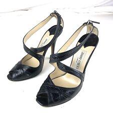 Jimmy Choo Strap Patent Leather Peep Toe Black Platform Heels Size 36, US 6