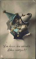 1915 Stempel Eisfeld bei Hildburghausen Thüringen auf Feldpost-AK Clown Kinder