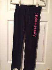 Abercrombie Kids Black Sweat Pants w/Pink Logo - Girls Size M (10) - EUC
