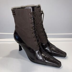 Stuart Weitzman Brown Leather Ankle Granny Boots 8N 8 N Witch Lace Up Heels