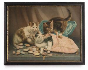 Wandbilddruck Druckgrafik um1900 Glas-Rahmen Jugendstil Katzen Shabby Chic