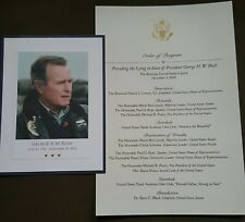 President GEORGE  BUSH Memorial Service Capitol Lying In State And Funeral Card