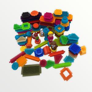 Vintage Playskool Bristle Blocks Lot Plastic Set Building Blocks Special Pieces