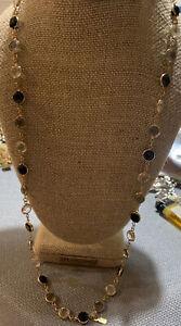 "Signed Swarovski Crystal Bezel Necklace Long Black Gray Clear Gold Tone 28"""