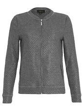 Ladies Quilted Bomber Jacket Grey Silver Zip Up Biker Coat Womens Sports Luxe UK