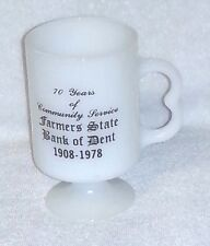 FARMERS STATE BANK OF DENT Minnesota White Milk Glass Footed MUG Cup 1978 MINT