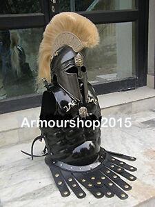 GREEK CORINTHIAN HELMET WITH MUSCLE ARMOR IN BLACK ANTIQUE