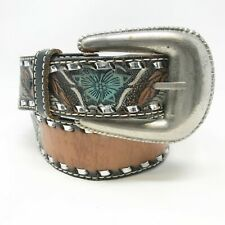 Vintage Native American Leather Tooled Belt Size 32