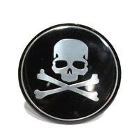 4Pcs Car Wheel Hub Center Cover Cross Bone Skull Funny Logo Decal Sticker Black