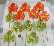 Vintage Lot of 12 Hard Plastic Maple Leaves - Green and Orange - Hong Kong