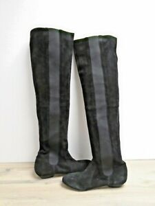 Ladies Black Leather Knee High Elasticated Boots UK Size 4 / EU 37 BNWT