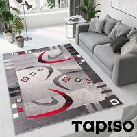 Teppich Kurzflor Grau Creme Modern Bordüre Meliert Bumerang Designer Wohnzimmer