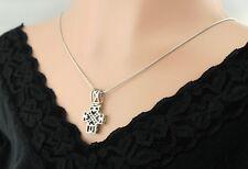 Vtg Sterling Silver 3D Scroll Box Cross Necklace Pendant