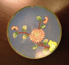 Fine Old Chinese Enamel Cloisonne Blue Plate Chrysanthemum Flower Gilt Cloud
