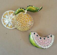 Monet Fruit Brooch Pin Orange Watermelon Enamel Rhinestone Costume Jewelry Set