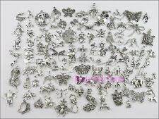 100Pcs Mixed Tibetan Silver Tone Animals Charms Pendants