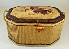 Straw Sewing Box with Contents (VINTAGE BUTTONS) - (CFM#278)