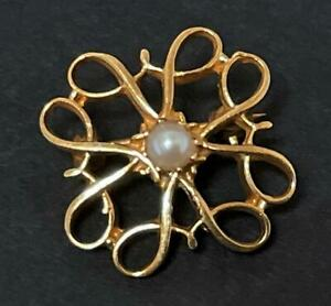 VINTAGE 9ct GOLD & PEARL AVON SERVICE AWARD BROOCH PIN ANGUS & COOTE AUSTRALIAN