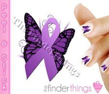Cystic Fibrosis Awareness Purple Ribbon Support Nail Art Decal Sticker RIB154