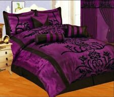 7Pc Full Size Modern Black Purple Flock Satin Comforter Set Bed in A Bag