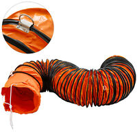 PVC Flexible Duct Hosing 25ft L Φ10inch Duct Hose for Exhaust Orange 25'L