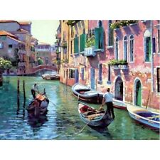 Digital DIY Paint By Number Kit Venice Scenery Oil Painting On Canvas Unframed