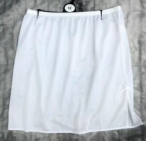"""LADIES girls half slip waist petticoat satin feel WHITE short 18"""" length NEW"""