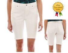 Liz Claiborne Womens Petites Denim Shorts Classic Fit White Solid size 12P NEW