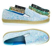 Marisa01 Glitter Slip On Sneaker w Espadrille Platform