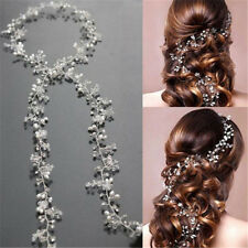 Women Pearl Wedding Hair Vine Crystal Bridal Accessories Diamante Headband 35cm