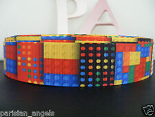 "1"" (25mm) Grosgrain Ribbon - By the Metre - #4417 Coloured Bricks"
