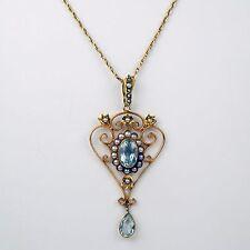 "Victorian Aquamarine & Half Pearl Lavaliere Necklace 15 kt Gold 18 1/2""  #9526"