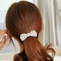 Fashion Crystal Hairpin Women Barrette Pearl Head Ornaments Bow Hair Clip 2r