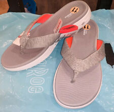 "Sketchers GOGA Max On The Go Women""s Flip Flop Sandal Thongs Grey Pink Size 11"