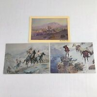 Vintage Postcards Lot Of 3 Western Art Charles Marion Russell