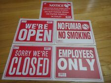 """4 Pcs-9x12 inch Flexible Plastic """"EMPLOYEES ONLY, OPEN/CLOSED, NO SMOKING, WASH"""""""