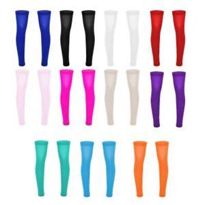 Mens Thigh High Full Leg Sleeve Footless Knee Brace Calf Support Socks Stockings