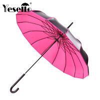Long Handle Windproof Umbrella Portable Pagoda Black Coating UV Protection Shade