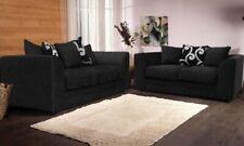 New Zina Collection Fabric Chenille Black color Corner sofa and 3 2 seater sofa