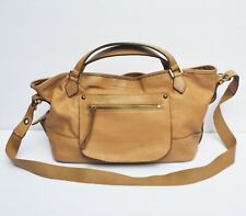 RABEANCO CONVERTIBLE SATCHEL BAG Tan Brown Leather Crossbody Tote Purse Handbag