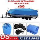 """Waterproof Heavy Duty Pontoon Deck Boat Cover 21-24ft Long Width102"""" 600D Oxford"""