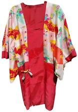 HAYASHI VINTAGE JAPANESE RED SILK COLOFUL FAN PRINT KIMONO JACKET DRESS ONE SIZE