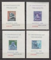 SPAIN  (1961 ) MNH COMPLETE SET SC SCOTT 983a/86a VELAZQUEZ PAINTINGS SHEETS