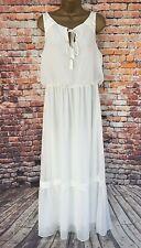 Adrianna Papell Long Maxi Dress Off White Gypsy Boho Grecian UK 16 BNWT NEW