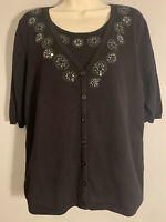 The QUACKER FACTORY Black Sequin Decorated 3/4 Sleeve Layered Sweater Women's M