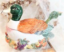 New! 1993 Fitz & Floyd Omnibus Mallard Duck Harvest Soup Tureen W/ Ladle 2.25 Qt