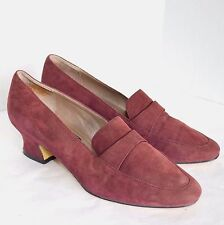 Bandolino Pump YFA Women 8 M Burgundy Suede Heel Slip On Dress Church Shoe RETRO