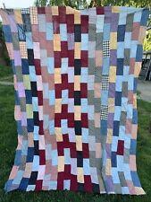 Vintage Hand Pieced Bricks Pattern Quilt Top