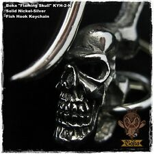 Boka Skull Nickel Silver Brass Key Chain Hook Biker Wallet Fob Harley Motorcycle